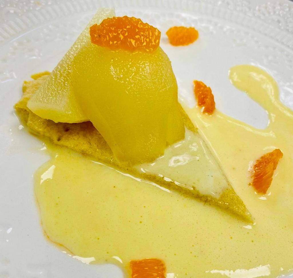 Pear & shortbread dessert made in the NEET eats kitchen